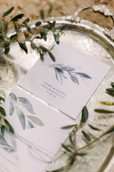 Olive Branch Motif Wedding Stationery // Chateau De Roussan St Remy Provence Wedding Venue With Joanne Flemming Dresses Fine Art Images From Jo Bradbury Photography
