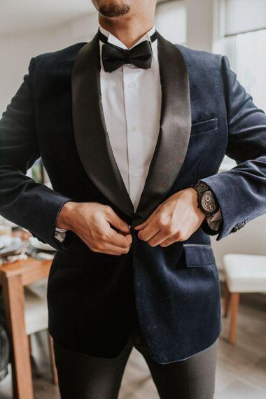 Navy tuxedo dinner jacket with satin lapel