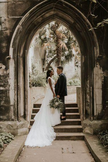 Botanical garden bride and groom portrait