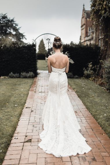 Christmas Pub Wedding At The Falcon Rotherwick With Bride In Alice By Watters And Candle Lit Wedding Ceremony Images By Rebecca Searle Photography