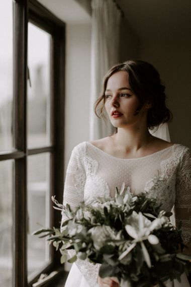 Red Lipstick With Lace Dress and Bouquet