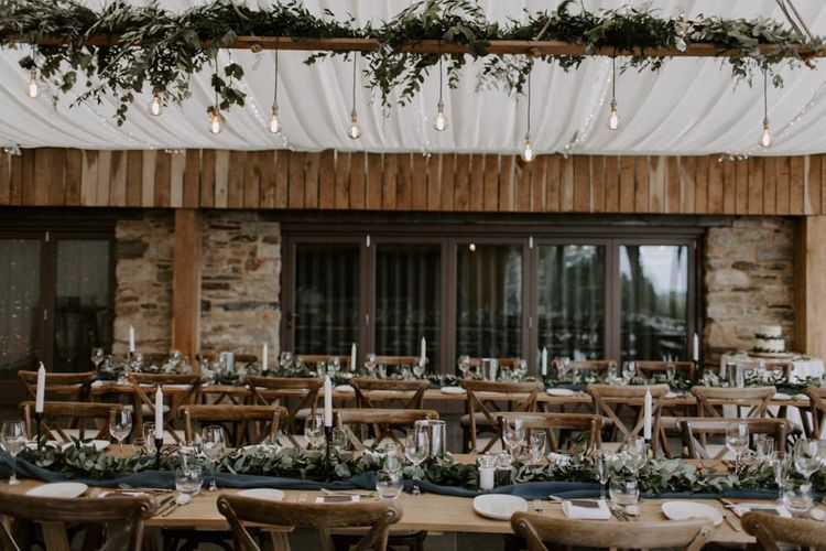 Reception Wedding Table Decor And Set Up At Trevenna Barn