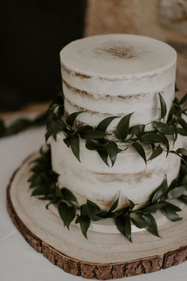 Semi Naked Wedding Cake With Foliage Detail