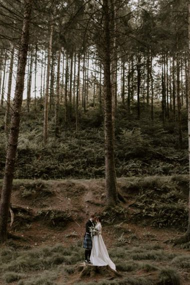 Bride and Groom Portrait in Cardinham Woods