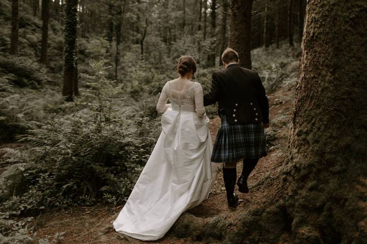 Bride and Groom Walk Back Through Cardinham Woods