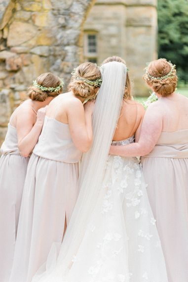 Bride in Strapless Liz Martinez Ballgown Wedding Dress with Embroidered Flowers | Cathedral Length Veil in Blush Soft Tulle | Bridesmaids in Blush Pink Rita Roushdy Dresses | Flower Crowns | Country Tipi Wedding with Macramé Arch and Hanging Flowers | Sarah-Jane Ethan Photography