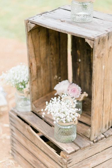 Wooden Crates | Gypsophila in Jam Jars | Country Tipi Wedding with Macramé Arch and Hanging Flowers | Sarah-Jane Ethan Photography