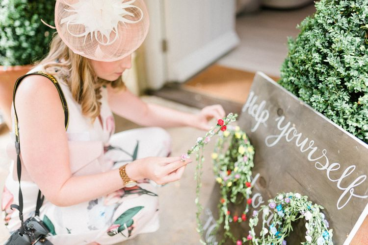 Flower Crown Station | Country Tipi Wedding with Macramé Arch and Hanging Flowers | Sarah-Jane Ethan Photography