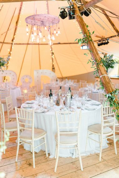 Tipi Decor | Large Letter Lights | Country Tipi Wedding with Macramé Arch and Hanging Flowers | Sarah-Jane Ethan Photography