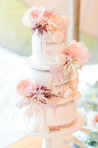 Semi-Naked Drippy Three Tiered Wedding Cake with Macaroons and Peonies | Country Tipi Wedding with Macramé Arch and Hanging Flowers | Sarah-Jane Ethan Photography