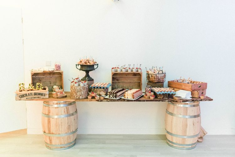 Dessert Table | Brownies | Crème Brulees | Profiteroles | Macrons | Truffles | Eton Messes | White Chocolate Panna Cotta | Country Tipi Wedding with Macramé Arch and Hanging Flowers | Sarah-Jane Ethan Photography