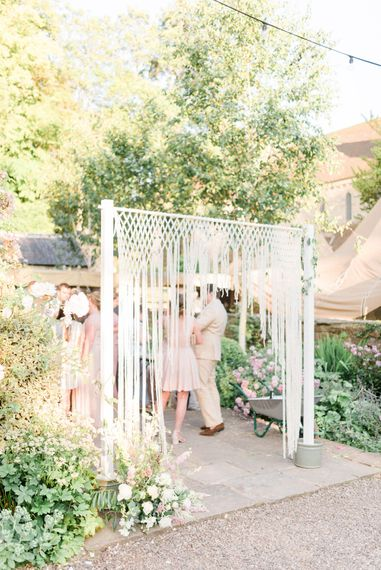 Macramé Arch | Country Tipi Wedding with Macramé Arch and Hanging Flowers | Sarah-Jane Ethan Photography