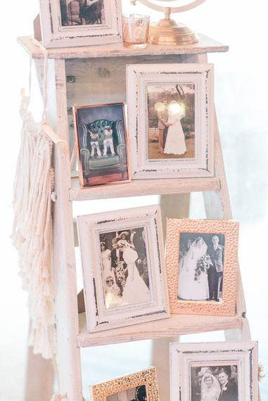 Wedding Reception Decor | Framed Photos of Family Weddings | Rustic Ladder | Macramé Decoration | Country Tipi Wedding with Macramé Arch and Hanging Flowers | Sarah-Jane Ethan Photography