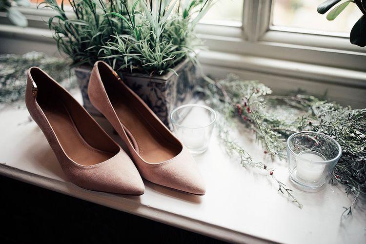 Bridal shoes with Riki Dalal wedding dress