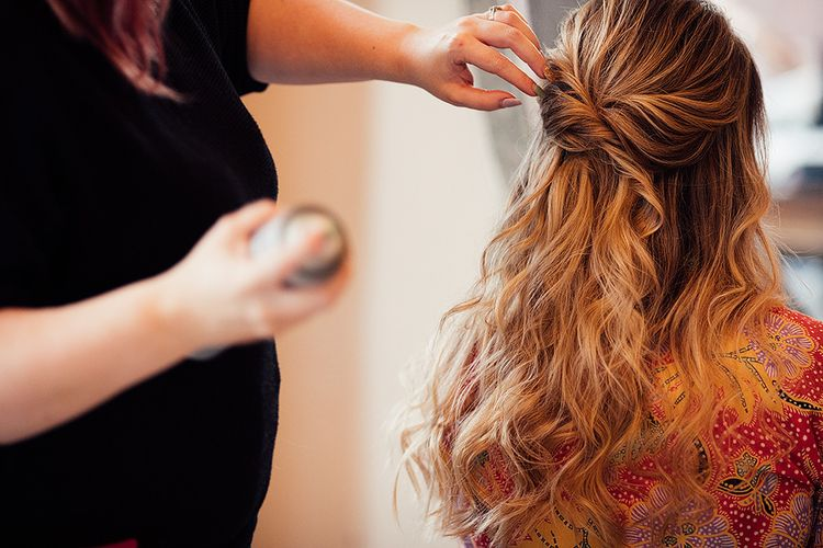 Bridal half up half down hair with loose waves