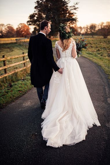Lace detail Riki Dalal wedding dress
