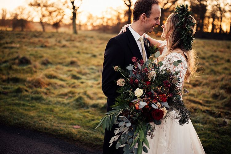 Large red and cream wedding bouquet for Winter wedding