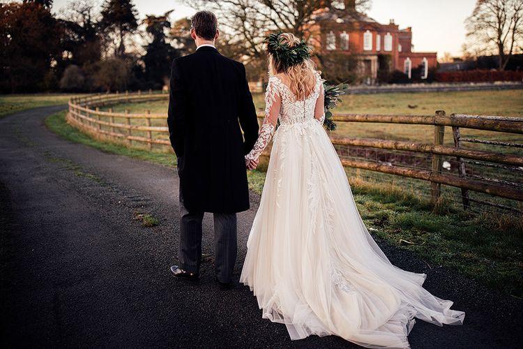 Low back Riki Dalal wedding dress for Winter wedding