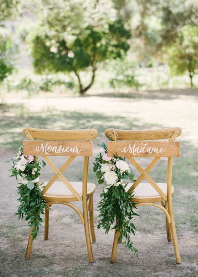 Monsieur and Madame Wooden Chair Back Signs