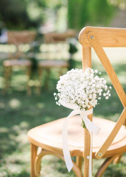Gypsophila Flowers on Aisle Chairs