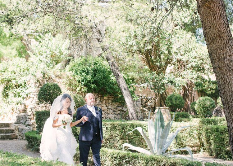 Outdoor Wedding Ceremony Bridal Entrance in Lace David Tutera Wedding Dress