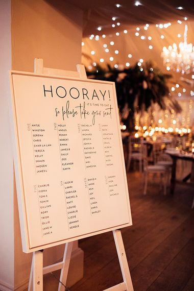 Monochrome wedding seating chart