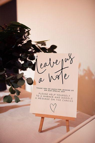 Monochrome wedding guest book sign