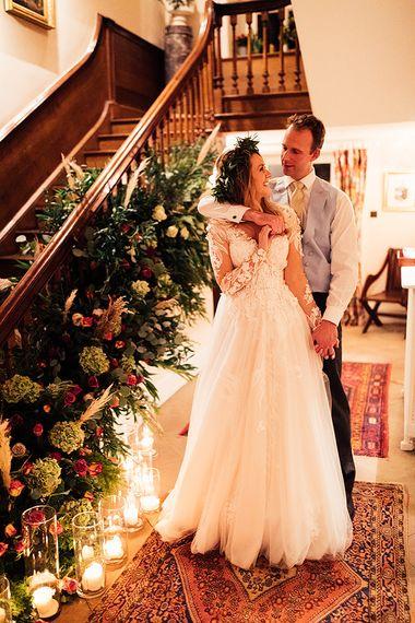 Bride wears Riki Dalal wedding dress at winter wedding