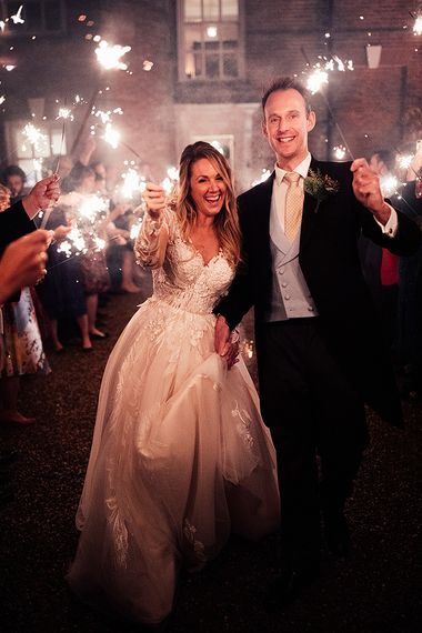 Sparkler exit for bride and groom at Iscoyd Park