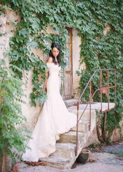 Beautiful Bride in Lace David Tutera Wedding Dress