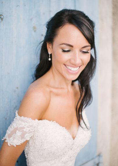Smiling Bride with Natural Makeup in Bardot David Tutera Wedding Dress