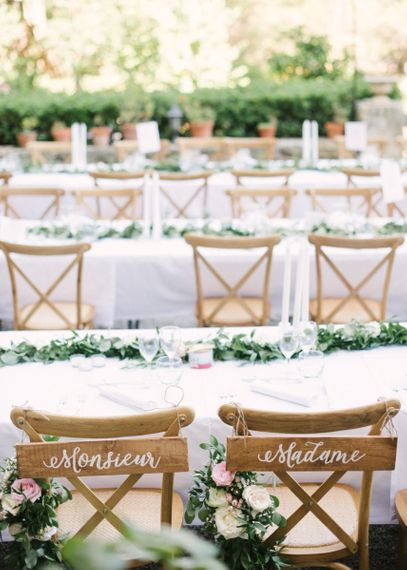 Monsieur and Madame Wooden Chair Back Signs for Wedding Reception