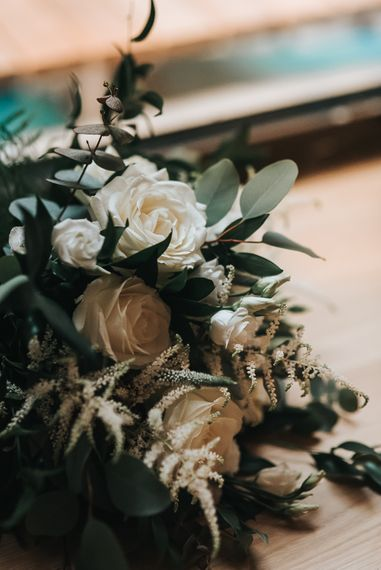 White Rose & Foliage Wedding Bouquets // Devonshire Terrace London Wedding With Palm Leaf Motif And Flowers By Bloomantic With Images From Pear And Bear Photography