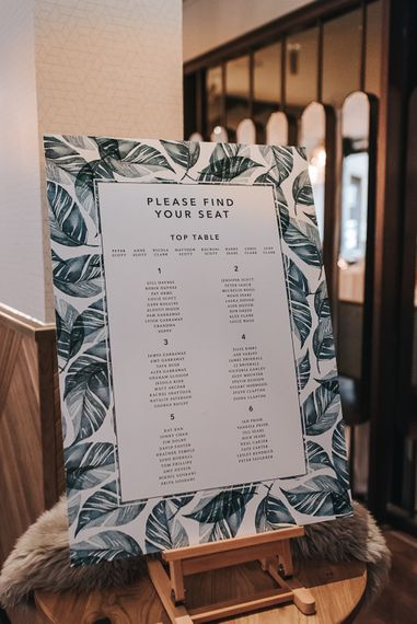 Palm Leaf Table Plan // Devonshire Terrace London Wedding With Palm Leaf Motif And Flowers By Bloomantic With Images From Pear And Bear Photography