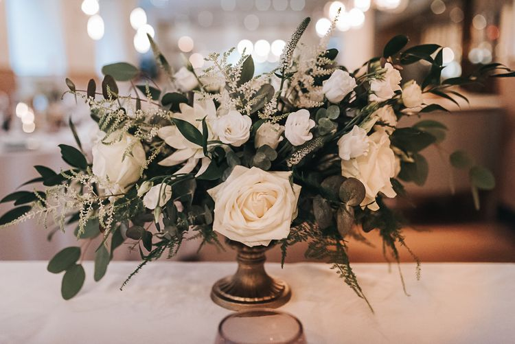 White Rose & Foliage Floral Table Arrangements // Devonshire Terrace London Wedding With Palm Leaf Motif And Flowers By Bloomantic With Images From Pear And Bear Photography