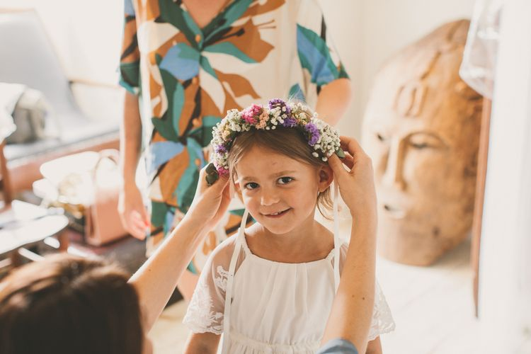 Cute flower girl with flower crown