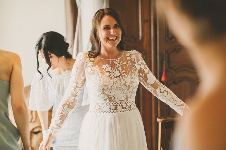 Lace wedding dress for rustic Devon wedding