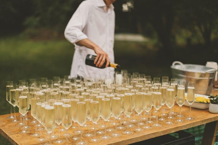 Champagne table at Devon wedding