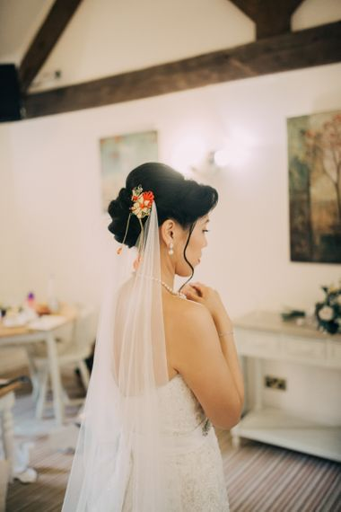 Bridal Up do with Red & Gold Chinese Hair Accessory and Wedding Veil