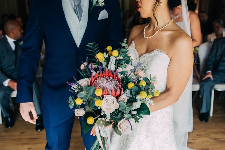 King Protea and Rose Wedding Bouquet