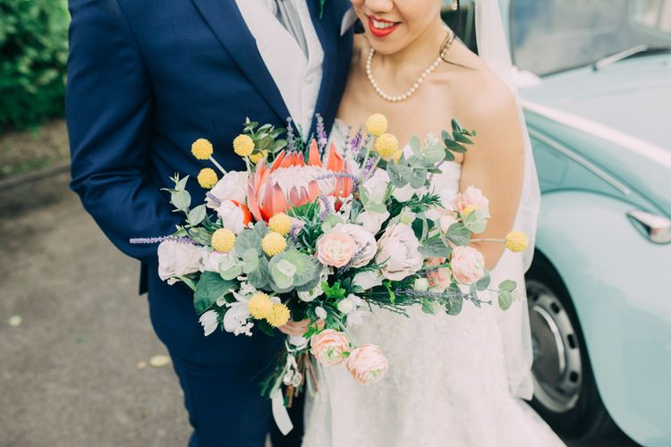 Colourful Wedding Bouquet with King Protea, Roses  and Foliage