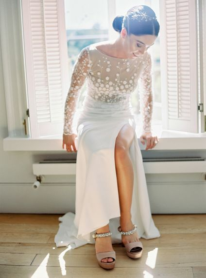 Bride in Applique Rime Arodaky Long Sleeve Wedding Dress  with Front Split