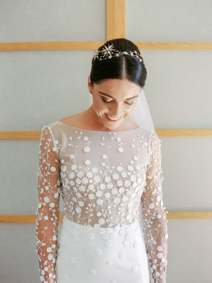 Bride in Applique Rime Arodaky Long Sleeve Wedding Dress and Tilly Thomas Lux Jewellery