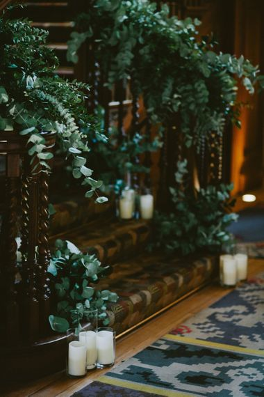 Foliage and Candle Stairs Wedding Decor