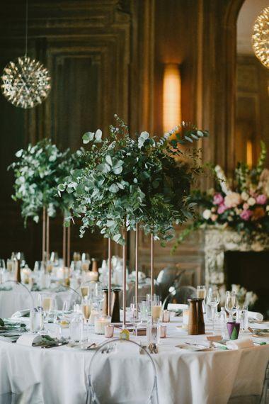 Tall Foliage Wedding Flower Centrepieces