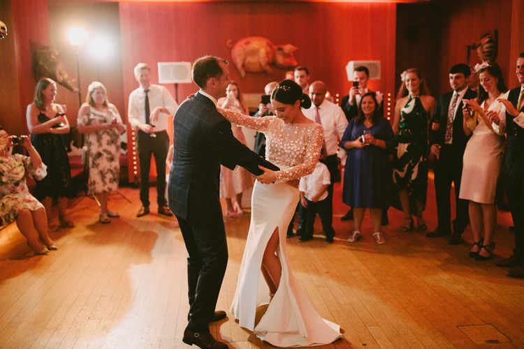 First Dance with Bride in Applique Rime Arodaky Long Sleeve Wedding Dress and Groom in Dark Suit