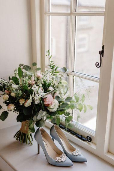Blue Freya Rose Wedding Shoes and Pastel Bridal Bouquet