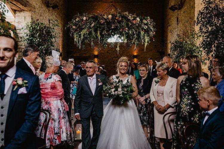 Bride in Stella York Wedding Dress Walking Down the Aisle at Cripps Barn Wedding Venue