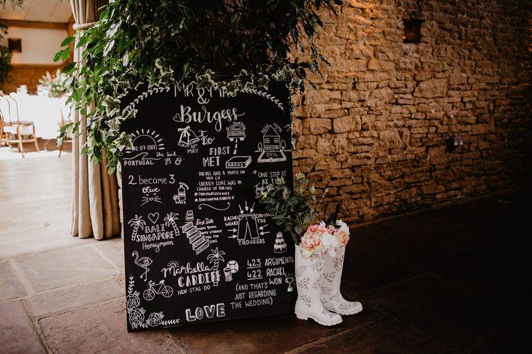 Chalkboard Wedding Sign and Wellington Boots Wedding Decor