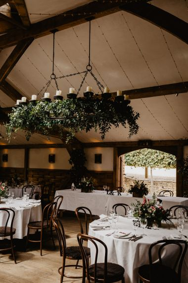 Wedding Reception at Cripps Barn with Greenery Chandelier